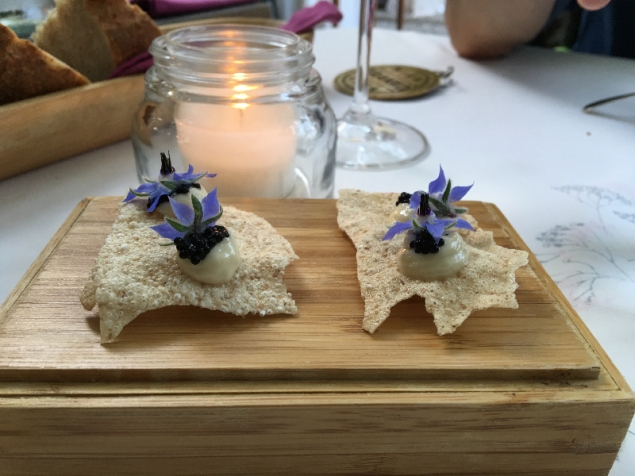 Crisp bread with violet flowers