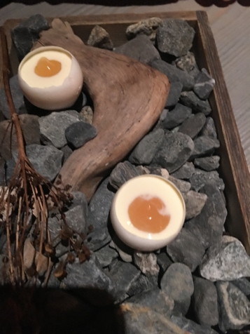Faviken eggs on coal