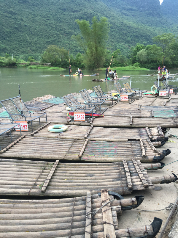 yang lots of bamboo rafts